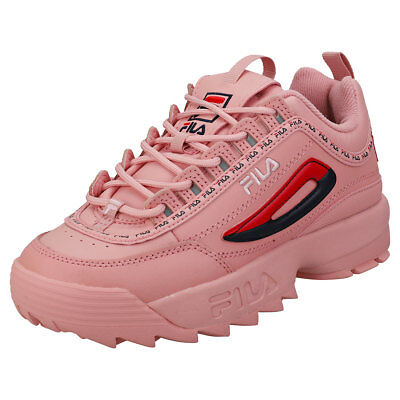 FILA DISRUPTOR II Premium Repeat Womens Pink Leather & Synthetic Trainers -  8 UK