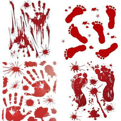4 SHEETS BLOODY Handprint Footprint Decals Stickers Decorations Party  Supplies