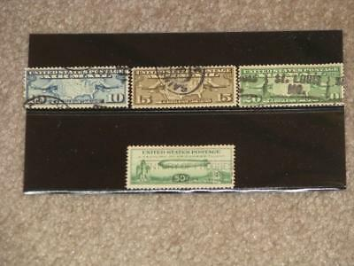 US Early Airmail, Scott# C7-C9, C18, all used
