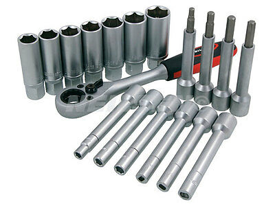 Neilsen Shock Absorber Socket Set 18 Piece Kit Ratchet Go Through Suspension