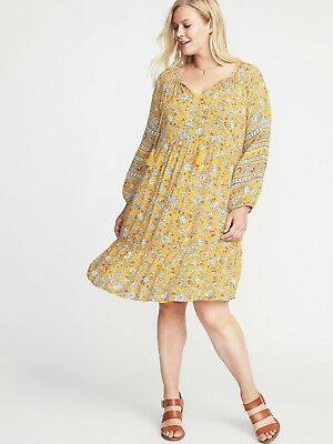 4cce2cc2d1cd Old Navy XXL Yellow Plus Size Boho Hippie Floral Swing Dress SLIGHTLY USED