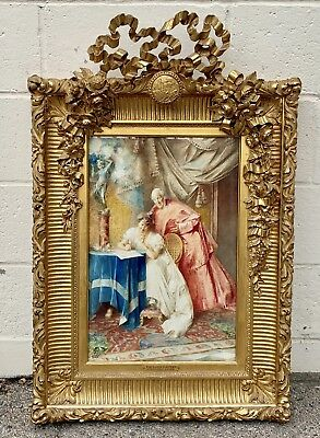 Pietro Falena 19C Italian W/c Painting Of The Love Letter / Cardinal Magnificent