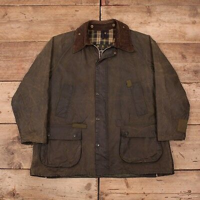 "Mens Vintage Barbour Bedale Green Waxed Cotton Jacket Coat Large 44"" R10932"