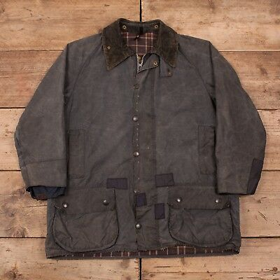 "Mens Vintage Barbour Beaufort Blue Waxed Cotton Jacket Coat Large 44"" R11020"