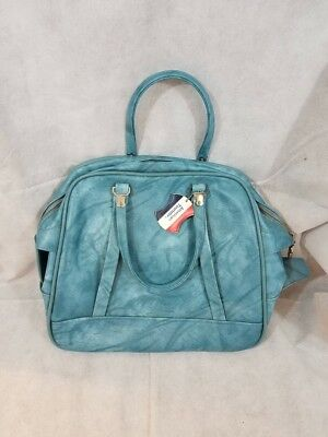 Vintage Marble Blue American Tourister Overnight Carry On Luggage Bag with lock