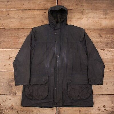 "Mens Vintage Barbour Durham A6 Waxed Cotton Hooded Jacket Coat Medium 38"" R11028"