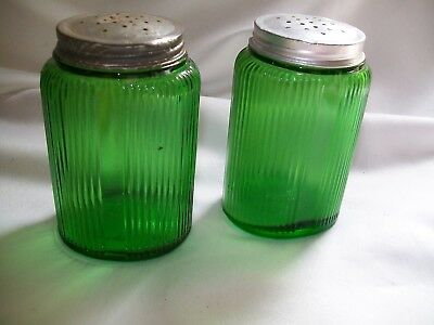 "Vintage Range Set Salt & Pepper Shakers Green Ribbed  Metal Lids 4 1/4"" Tall"
