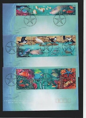 1998 Christmas Island Marine Life set of 3 First Day Covers