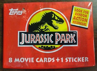 1992 Topps Jurassic Park Wax Pack 8 Movie Cards + 1 Sticker ~ Unopened New Pack
