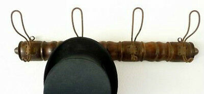 Antique Vintage French Oak Spindle Wall Coat Hat Rack ~ Four Large Wire Hooks