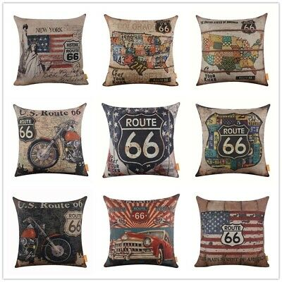 Vintage American Style USA Map Route 66 National Flag Home Decor Pillow Case