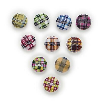 50pcs Grid 2 Hole Round Wood Buttons Clothing Sewing Scrapbooking Decor 15mm