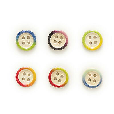 50pcs 4 Hole Round Multi-Color Wood Buttons Sewing Scrapbooking Decor 15mm