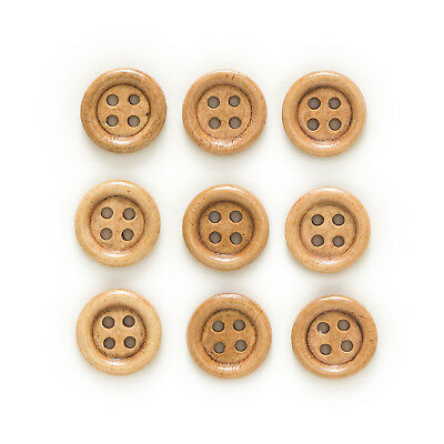 50pcs 4 Hole Round Coffee Wood Buttons Home Sewing Scrapbooking Decor 15mm