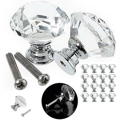 6-20X 30MM Clear Crystal Glass Door Knobs Cupboard Drawer Cabinet Kitchen Handle