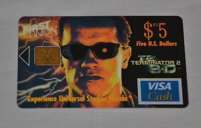 First Union $5 VISA Cash Card (Expired) Terminator 2 T2 3D Universal Studios 3-D