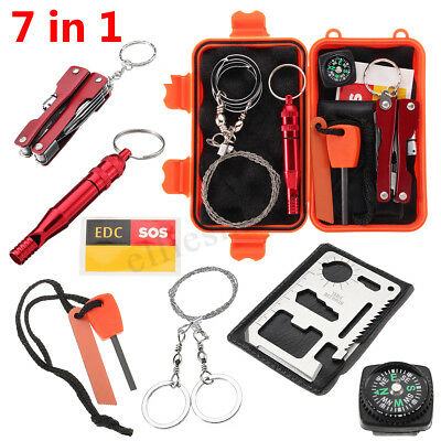 7in1 SOS Emergency Survival Equipment Kit Outdoor Tactical Hiking Camping Tool