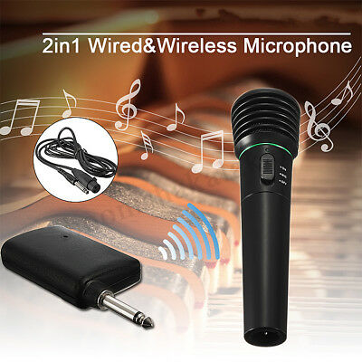 2 in 1 Wired&Wireless Handheld Microphone Cordless Mic Dynamic Karaoke KTV Stage