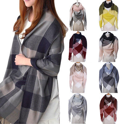 Women Fashion Tartan Neck Shawl Plaid Scarf Winter Warm Wrap Pashmina Exquisite