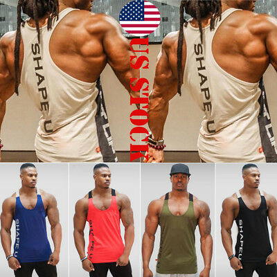 Men Gym Muscle Sleeveless Tank Top Tee Shirt Bodybuilding Sport Fitness Vest US
