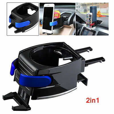 2 in 1 Air Vent Cup Bottle Drink Adjustable Holder Stand Cell Phone Mount In Car