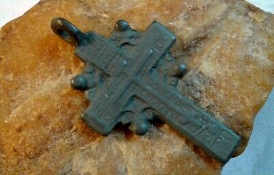 "RARE ANTIQUE 18-19th CENTURY ""OLD BELIEVERS"" ORTHODOX ""SUN"" SOLAR CROSS PSALM 68"