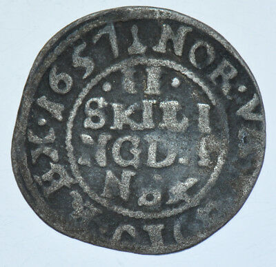 Norway Frederic Iii, 2 Skilling, 1657 Silver Coin Vf