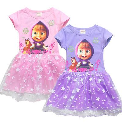 New Girls Masha and Bear Bow Dress Kids Casual Dress Custome Clothes Gift