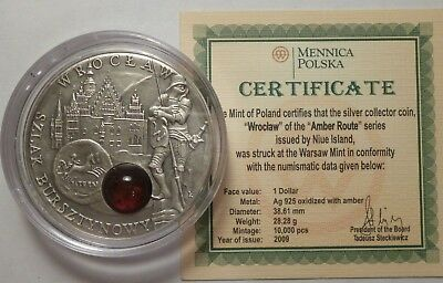 2009 Niue 1 $ WROCLAW Amber Route Silver Coin COA
