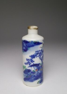 Antique 19thc. Chinese blue and white, enamel and gilt porcelain snuff bottle