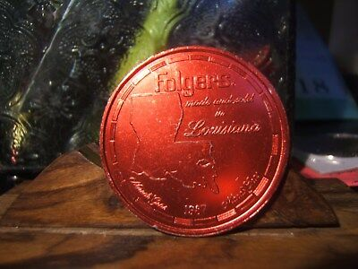 1987 FOLGERS COFFEE Red Aluminum Mardi Gras Doubloon-