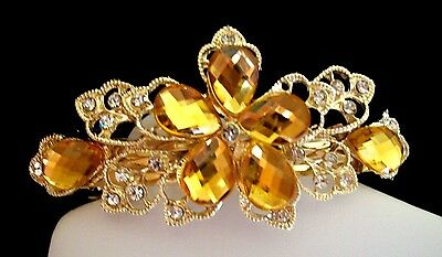 Lovely Gold Tone Flower Hair Barrette w/Clear Crystals & Gold-Faceted Crystals