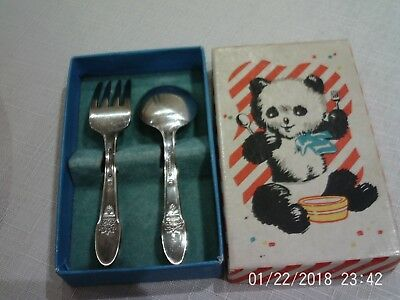 Vintage Silver plate Infant Fork & Spoon First Love Panda Box Rogers Bros 1847