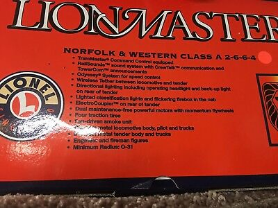 Lionel Lionmaster Locomotive And tender - NEW!! Norfolk And Western 2-6-6-4