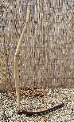 """Farm Ranch Scythe Snath 26.5"""" Sickle Blade 58.5"""" Wooden Handle Country Display"""