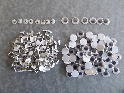GOOGLY EYES. MOVING WIGGLY EYES. Packs of 50/100 *2 SIZES 4mm & 6mm* KIDS CRAFTS