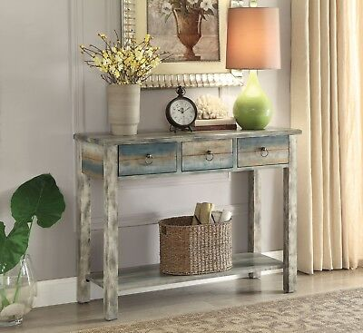 Console Table Vintage 3-Drawer Distressed Antique White Teal Wood Finish Rustic
