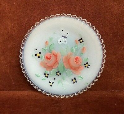 PAIRPOINT Glass Cup Plate White Opal Spring 1992 Lorey Pelleux  ~ FREE SHIPPING