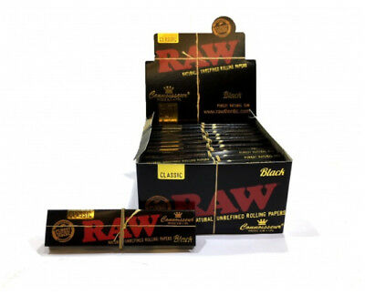Full Box of 24 RAW BLACK Classic Connoisseur King Size Slim Rolling Papers & Tip