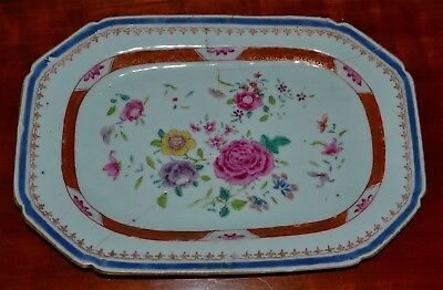 Small Antique 18th C Chinese Famille Rose Porcelain Platter Staple Repair AS IS