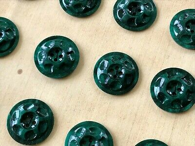 12 x Jade Green Mottled Disc Buttons 18mm Jumper Cardigan Clothing Crafts 2 Hole