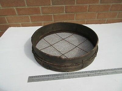 Vintage weathered wooden garden riddle sieve
