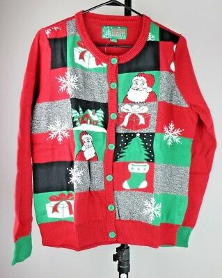 Joan Vass Ugly Christmas Sweater Stockings Button Up Cardigan