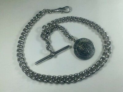 Antique Solid Silver Gents Albert Pocket Watch Chain & One Shilling Fob