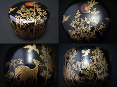 Japan Antique Lacquer Wooden Tea caddy makie Hira-Natsume SOTETSU NAKAMURA(1211)