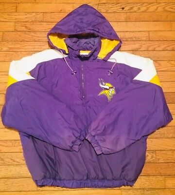 promo code 3a5f7 c4202 VINTAGE 90S MINNESOTA Vikings Pullover Front Pouch Jacket Mens Large NFL