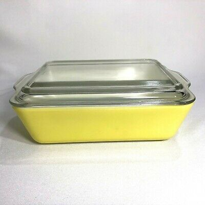 VTG Pyrex Primary Yellow Refrigerator Dish 503 B With Ribbed Lid 503-C Frigie