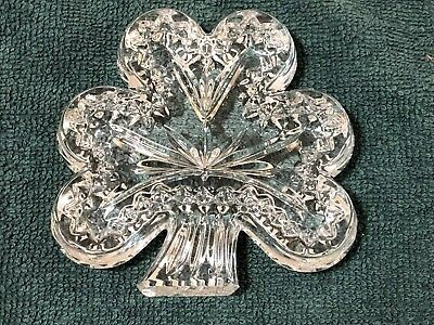 WATERFORD Crystal Shamrock Figurine Paperweight Signed