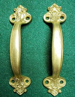 Very Nice Pair Of Antique Solid Cast Brass Handles Pulls With Screws (N25)