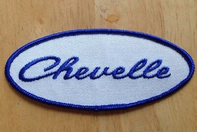 1970s 1980s CHEVY CHEVELLE EMBROIDERED WHITE BLUE RALLY JACKET PATCH, VINTAGE